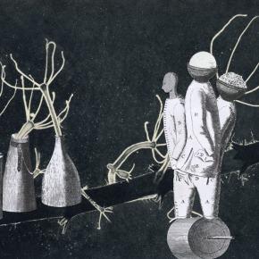 Thaddée,Collage sur papier, 16 x 21,4 cm