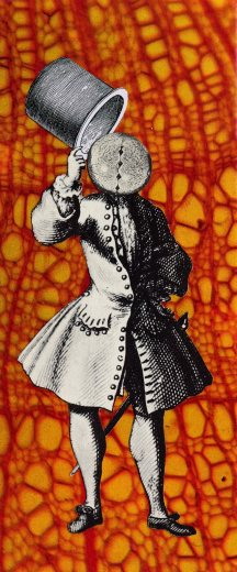 Thaddée, collage sur papier, 16,8 x 6,8 cm, 2011