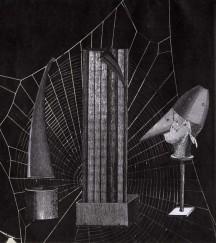 Collage sur papier, Thaddée, 22,9 x 20,2 cm
