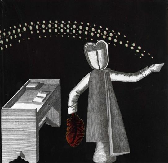 collage sur papier, Thaddée, 20 x 20,3 cm, 2013