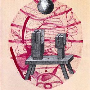 collage sur papier, Thaddée, 14,2 x 13,4 cm, 2012