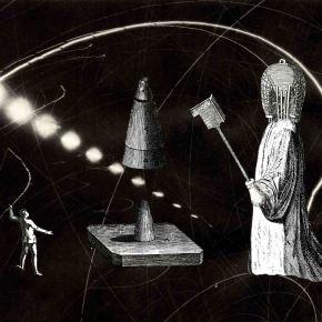 Thaddée, collage sur papier, 15,8 x 22,9 cm