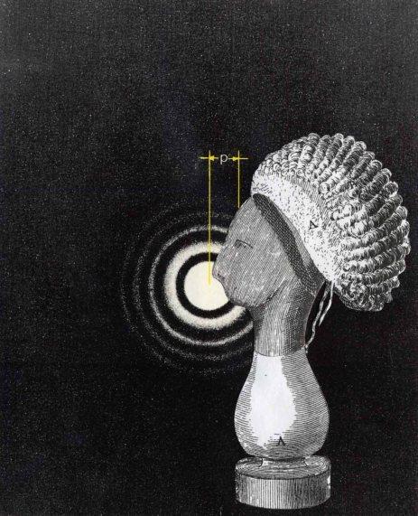 Portrait, collage sur papier, Thaddée, 11,3x9,2 cm
