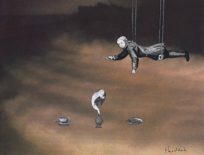 Hommage à Sebald, Thaddée, collage sur papier, 16,7 x 21,3 cm, avril 2015