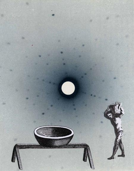 Sisyphe, Thaddée, collage sur papier, 12,8 x10 cm, 2013, collection particulière