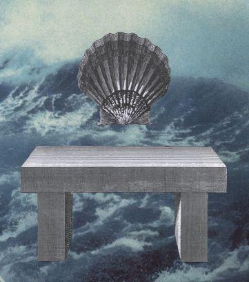 Coquillage; Coquille St Jacques; Table; présentation; tempête; vagues; éléments; gravure; couleur; bleu;