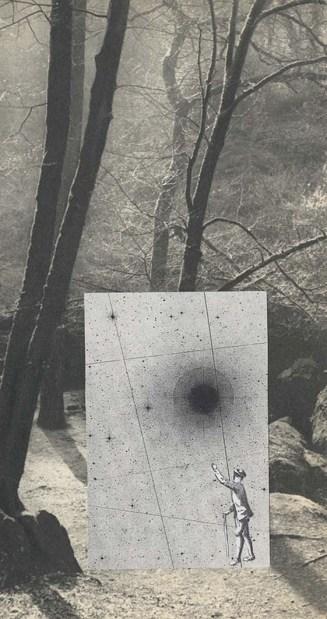 Rêverie du promeneur solitaire, Thaddée, collage sur papier, 21,2x11,2 cm, 2017, Rambouillet